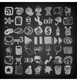 49 hand drawing doodle icon set on black vector image
