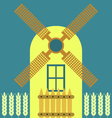Windmill modern flat icon traditional dutch style vector image