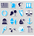 greece country theme symbols and stickers set vector image