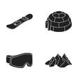 mountains goggles an igloo a snowboard ski vector image