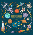 space objects in universe hand drawn vector image