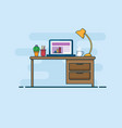 work desk work space flat line style vector image