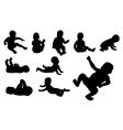 Set of ten baby silhouette vector image vector image