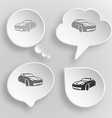 Car White flat buttons on gray background vector image