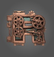 r rusted letter with gears vector image