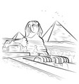 drawing pyramids and sphinx in giza egypt vector image