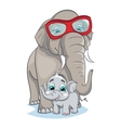 Image of mother elephant with baby elephant vector image