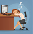 sleeping happy smiling office worker woman vector image