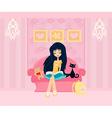 Teen girl Reading A Book vector image
