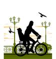 woman and baby on bike vector image