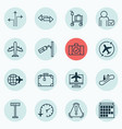 set of 16 travel icons includes worldwide flight vector image