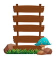 A blue mushroom beside the empty wooden boards vector image vector image
