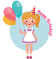 Girl with balloons birthday vector image vector image