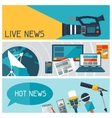 Banners with journalism icons vector image