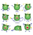 Cute cartoon monster in different poses vector image