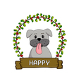 Cute dog in the red cherries round frame vector image