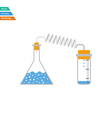 Flat design icon of chemistry reaction with two vector image