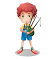 Little boy playing scottish bagpipe vector image