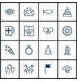 set of 16 new year icons includes decorated tree vector image