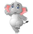 Cute elephant cartoon presenting vector image