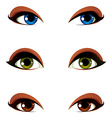 female eyes collection in different emotion with vector image