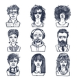 Sketch people portraits set vector image