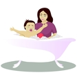 Mother washes crying child vector image vector image