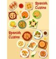 Spanish cuisine seafood dishes icon set design vector image