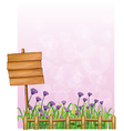 A wooden signboard in the garden with lavender vector image