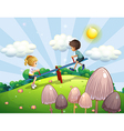 A boy and a girl riding a seesaw vector image