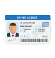 flat man driver license plastic card template id vector image