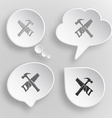 Hand saw and hammer White flat buttons on gray vector image