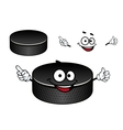 Black rubber ice hockey puck cartoon character vector image vector image
