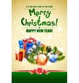 Christmas Card with Fir Twigs and Decorations vector image