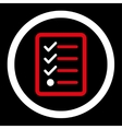 Checklist flat red and white colors rounded vector image