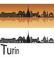 Turin skyline in orange background vector image