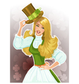 Cute blond girl Leprechaun with hat vector image vector image