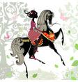 Khokhloma horse girl background vector image