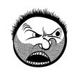 Angry cartoon face with stubble black and white vector image