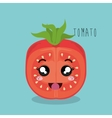 cartoon tomato sliced vegetables design isolated vector image