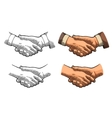 Handshake color vintage engraving vector image