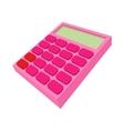 Pink calculator icon cartoon style vector image