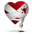 Heart in bandages vector image vector image