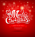Merry Christmas greeting card lettering design vector image