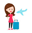 airplane young happy woman passenger vector image