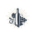 black wine bottle and vine with sunbursts for vector image
