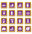 charity icons set purple vector image