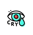 Crying hipster eye logo template in stroke vector image