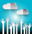 Hands on Sky Paper Cut Hands with Clouds on Blue vector image