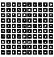100 vegetarian cafe icons set grunge style vector image